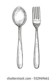 spoon and fork drawing. vector illustration