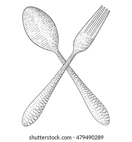 Spoon and fork. Hand drawn sketch. Vector illustration