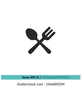 spoon and fork icon meal symbol logo template design element