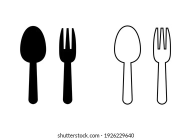 spoon and fork icon set. spoon, fork and knife icon vector. restaurant icon