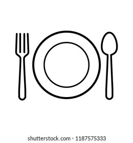 spoon and fork icon vector template