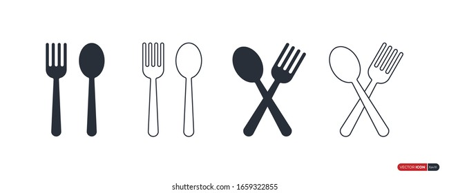 Spoon and Fork Icons Set isolated on White Background. Flat Vector Icon Design Template Element.