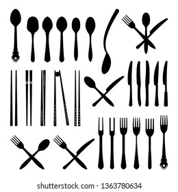 Spoon Fork Knife and Chopsticks - Cutlery Icon Silhouette Set