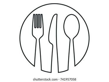 Spoon Fork knife and dish Icon food Vector.