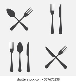 Spoon, fork and knife icon set. Vector illustration in flat style.