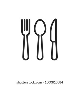 Spoon, fork and knife icon vector. Cutlery icon symbol