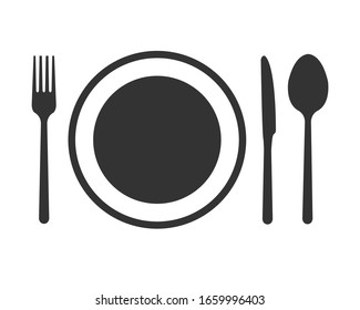 Spoon Fork and knife on dish icon. Isolated on white background.  Trendy symbol for restaurant menu. Vector illustration flat design. Logo food cafe top view.