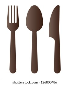 Spoon fork and knife on white background. Vector illustration