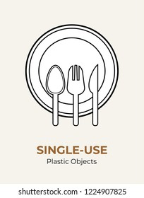 Spoon, fork, knife, plate. Single-use plastic cutlery. Vector illustration set of recycling plastic items. Food plastic cutlery flat logo for ecological poster, pollution environment concept.