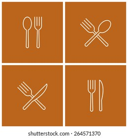 spoon fork knife thin line icon set
