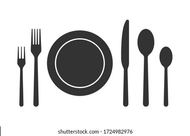Spoon fork knife vector icon, restaurant symbol. Vector stock illustration.