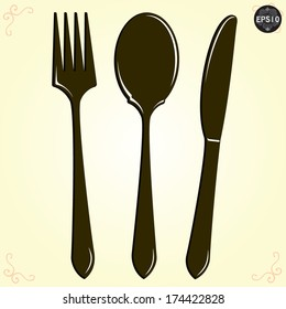Spoon, Fork and Knife, Vector, Illustrator eps10