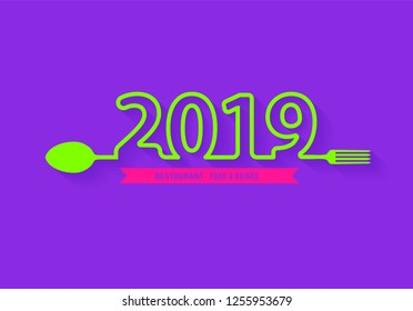 Spoon and fork restaurant food and drink icon with creative 2019 New Year text design, Vector illustration modern layout template