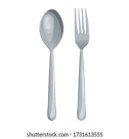 Spoon and fork vector illustration isolated on white background