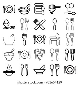 Spoon icons. set of 25 editable outline spoon icons such as bowl, honey, baby food, porridge, soup