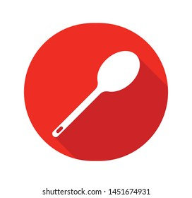 SPOON vector icon isolated on red circle background