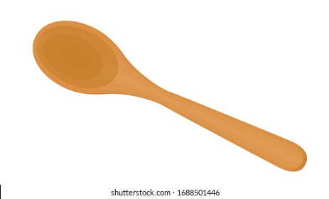 Spoon vector. Wood Spoon on white background.