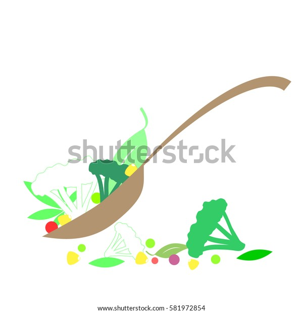 Spoon with vegetables and herbs vector