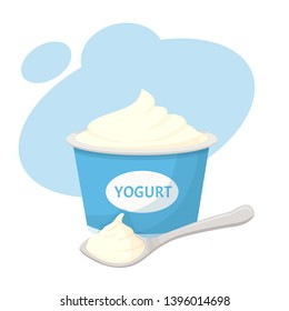 spoon with yogurt and yogurt vector illustration