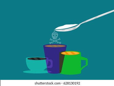 Spoonful of sugar or powdery substance in skull symbol. Editable Clip Art.