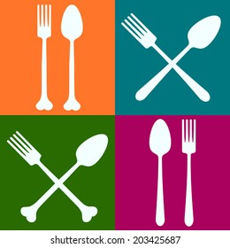 Spoons and forks colorful squares background