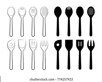 Spoons Set. Line Art Vector Illustration of a set of Spoons and their Silhouettes.