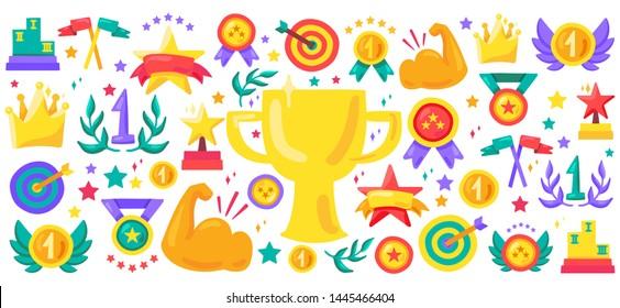 Sport achievement cartoon vector icon set. Awards flat illustrations. Champion trophy stickers