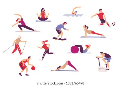 Sport  activities set. Sport enthusiasts, athletes , amateur sportspersons doing sport exercises . Athletic Training and Sports Health Care.