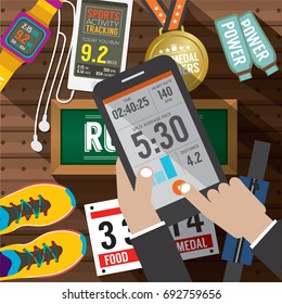 Sport Activity Application In Smartphone With Sport Gears Items In Background Vector Illustration