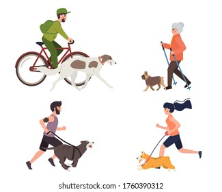 Sport and activity with dogs flat illustration. Stock vector. People running, walking and riding bicycle with dog in park, healthy lifestyle.