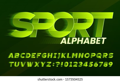 Sport alphabet font. Fast speed effect dynamic letters and numbers. Stock vector typescript for your typography design.