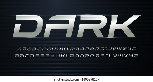 Sport Alphabet with Metallic texture on dark background. Chrome steel italic alphabet for dynamic logo and headlines. Modern cropped letters with aluminium color. Vector typography design - Shutterstock ID 1895298127