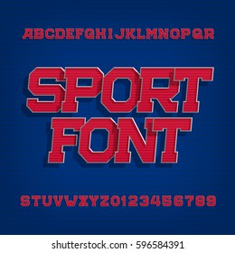 Sport alphabet vector font. Retro style typeface for labels, titles, posters or sportswear. Type letters and numbers on a blue background.