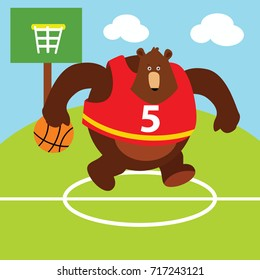 Sport animal series. Big bear doing basketball