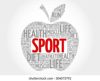 Sport apple word cloud concept