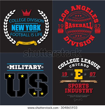 18a19c152 Sport athletic champions college baseball football military logo emblem  collection. Vector Graphics and typography t-shirt design for apparel.