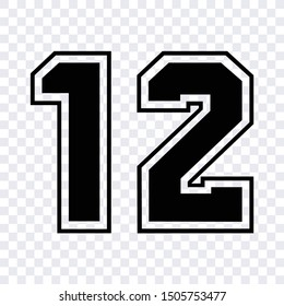 sport athletic jersey number 12 sketch vector isolated