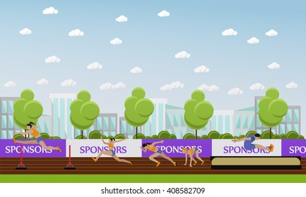 Sport of athletics concept vector illustration. Track and field competition games. Sportsman running, jumping and throwing. Sport venue (stadium) interior.
