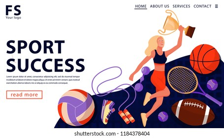 Sport award concept with happy sport athlete holding gold award cup and sports equipment. Sport and healthy lifestyle concept. Landing page template. Vector flat illustration.