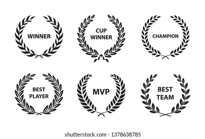 Sport Awards and best nominee award wreaths on white background. Vector illustration.