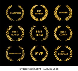 Sport Awards and best nominee gold award wreaths on dark background. Vector illustration.