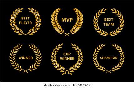 Sport Awards and best nominee gold award wreaths on dark background. Vector illustration.
