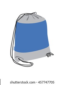 Sport backpack vector flat illustration. Drawstring pack isolated on white.