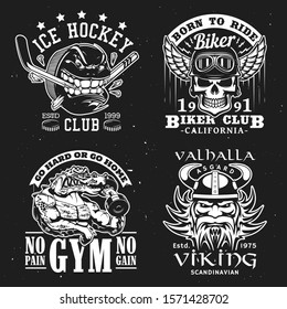 Sport badges, gym, ice hockey and biker club T-shirt monochrome grunge print. Vector ice hockey team shark icon, crocodile with barbell muscles, biker skull in wing helmet and Viking warrior