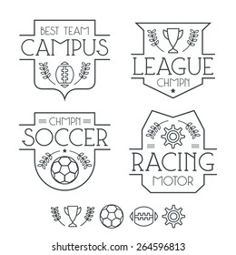 Sport badges and icons in thin line style. Graphic design for t-shirt. Black lines on a white background