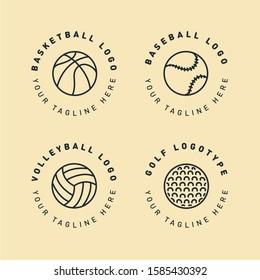 Sport Ball Circle Cute Logo Template. Creative Hipster Label Stamp Sign. Basketball, Baseball, Softball, Volleyball, Golf. Vector Flat Line Icon.