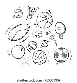 Sport Ball Doodle Drawing