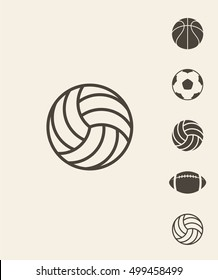 Sport ball. Icon set. Abstract balls on gray background. Vector illustration