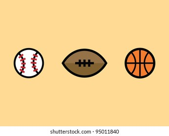 Sport Ball Icon Set. Baseball, Football and Basketball.