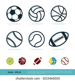 Sport Ball Set Icon Vector Logo Template Illustration Design. Vector EPS 10.